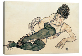 Canvas  Reclining Woman with Green Stockings - Egon Schiele