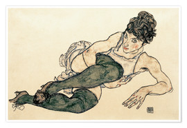 Premium poster  Reclining Woman with Green Stockings - Egon Schiele