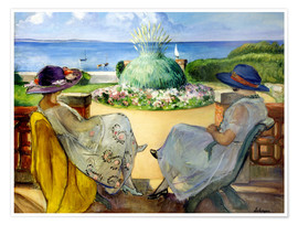 Premium poster Two women on a terrace by the sea