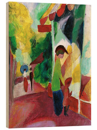Wood print  Shop window with yellow trees - August Macke