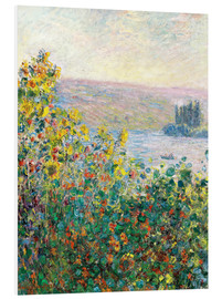 Foam board print  Flower Beds at Vetheuil - Claude Monet