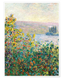 Premium poster  Flower Beds at Vetheuil - Claude Monet