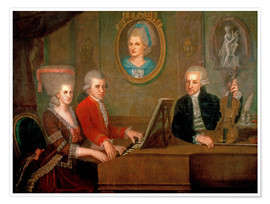Premium poster  The Mozart family making music - Johann Nepomuk della Croce
