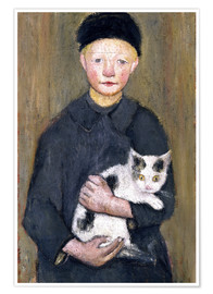 Premium poster  Boy with a cat - Paula Modersohn-Becker