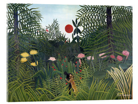 Acrylic print  Jungle landscape with setting Sun - Henri Rousseau