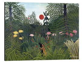 Aluminium print  Jungle landscape with setting Sun - Henri Rousseau