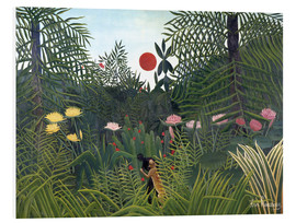 Foam board print  Jungle landscape with setting Sun - Henri Rousseau