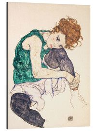 Aluminium print  Seated woman with bent knee - Egon Schiele