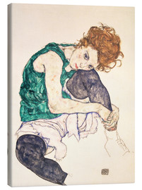Canvas print  Seated woman with bent knee - Egon Schiele