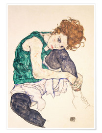 Poster  Seated Woman with Bent Knee - Egon Schiele