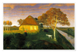 Premium poster  Moor cottage in the evening sun - Otto Modersohn
