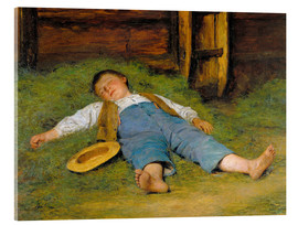Acrylic print  Sleeping boy in the hay - Albert Anker