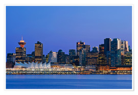 Premium poster  Vancouver skyline at night - Rob Tilley