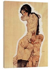 Wood print  Mother and Child - Egon Schiele