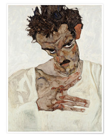 Premium poster Egon Schiele with his head down