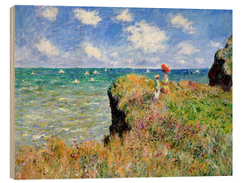 Wood print  Clifftop walk at Pourville - Claude Monet