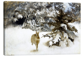 Canvas print  A hare in the snow - Bruno Andreas Liljefors
