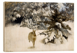Wood print  A hare in the snow - Bruno Andreas Liljefors