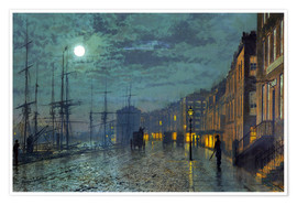 Premium poster  Docks at moonlight - John Atkinson Grimshaw
