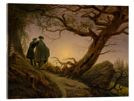 Acrylic glass  Two men contemplating the moon - Caspar David Friedrich