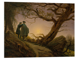 Foam board print  Two men contemplating the moon - Caspar David Friedrich