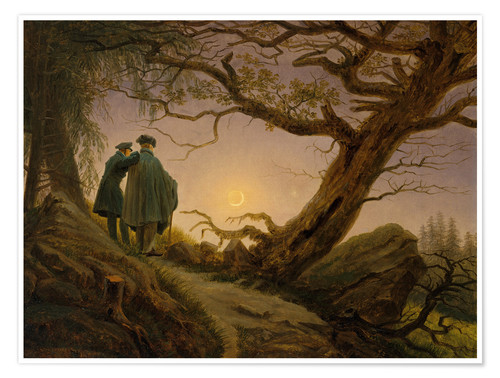 Premium poster Two men contemplating the moon
