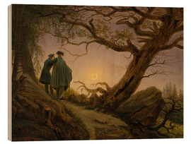 Wood print  Two men contemplating the moon - Caspar David Friedrich