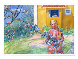 Premium poster Girl with apple tree branch