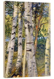 Wood print  Birch trunks - Carl Larsson