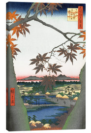 Canvas print  Maple leaves, the Tekona shrine and the bridge - Utagawa Hiroshige