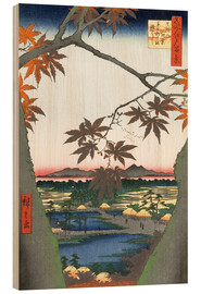 Wood print  Maple leaves, the Tekona shrine and the bridge - Utagawa Hiroshige