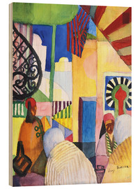Wood print  In the Bazar - August Macke