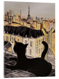 Acrylic print  Black cat on the roofs of Paris - JIEL