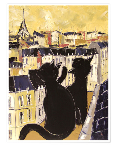 Premium poster Cats on the rooftops of Paris