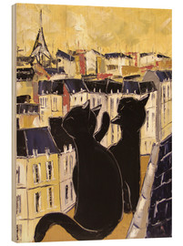 Wood print  Cats on the rooftops of Paris - JIEL
