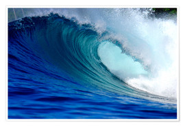 Poster  Big blue tropical island surfing wave - Paul Kennedy