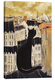 Canvas  Cat and dove in Paris - JIEL