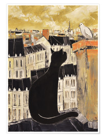 Premium poster Cat and dove in Paris