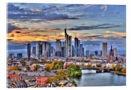 Acrylic print  Frankfurt skyline in the evening light - HDR - HADYPHOTO