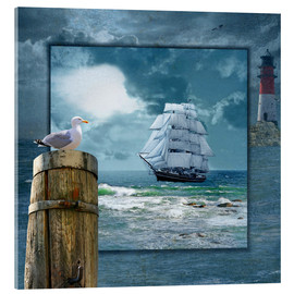 Acrylic glass  Collage With Sailing Ship - Monika Jüngling