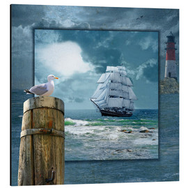 Aluminium print  Collage With Sailing Ship - Monika Jüngling