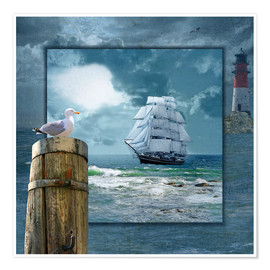 Premium poster Collage With Sailing Ship