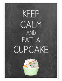 Poster Keep calm and eat a cupcake on chalkboard