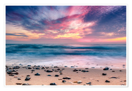 Premium poster beach and purple sunset