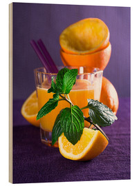 Wood print  Orange juice in a glass - Edith Albuschat