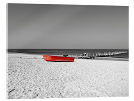 Acrylic print  Red boat on the beach - HADYPHOTO