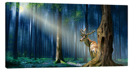 Canvas print  The Deer In The Mystical Forest - Monika Jüngling