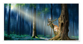 Premium poster  The Deer In The Mystical Forest - Monika Jüngling