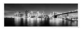 Premium poster  New York City skyline by night (Monochrome) - Sascha Kilmer