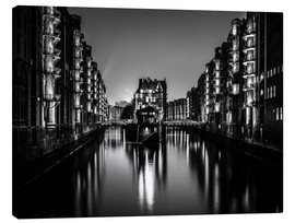 Canvas  Hamburg HafenCity quarter by night (monochrome) - Sascha Kilmer